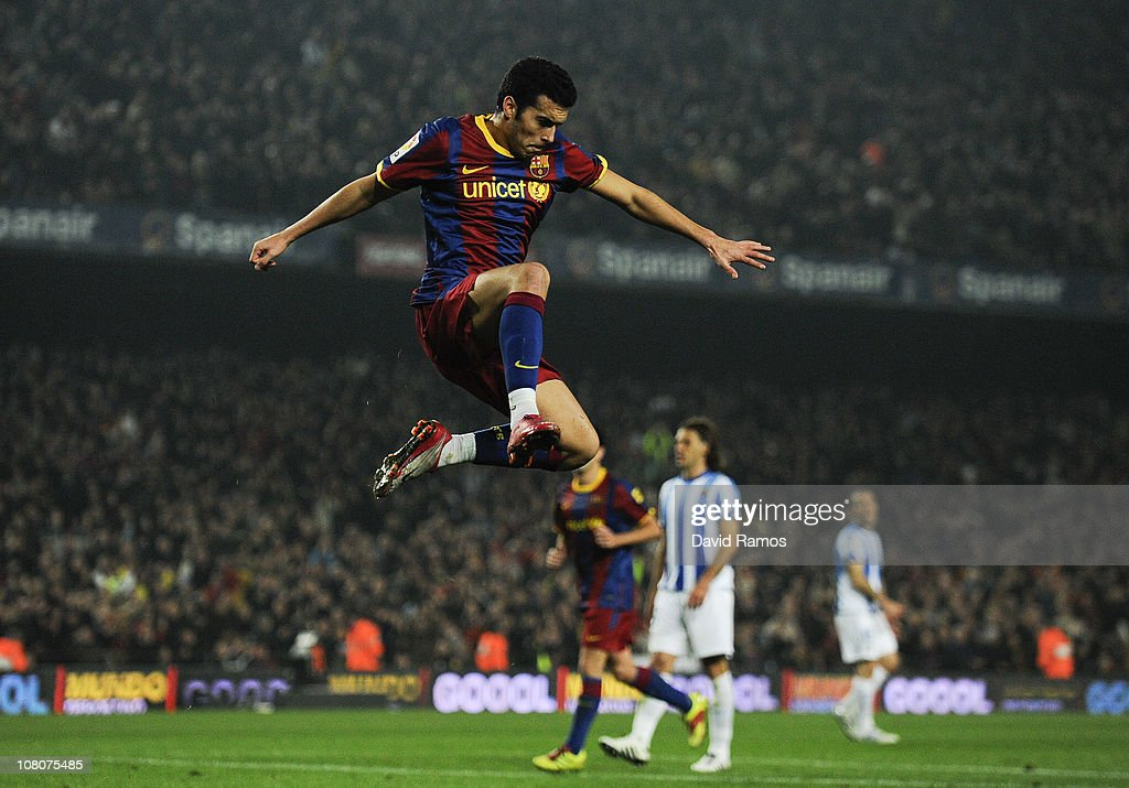 Pedro Rodriguez of FC Barcelona celebrates after scoring his side's third goal during the La Liga match between FC Barcelona and Malaga at Nou Camp on January 16, 2011 in Barcelona, Spain.