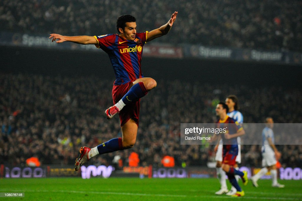 Pedro Rodriguez of FC Barcelona celebrates after scoring his side's third goal during the La Liga match between FC Barcelona and Malaga at Nou Camp on January 16, 2011 in Barcelona, Spain. Barcelona won 4-1.