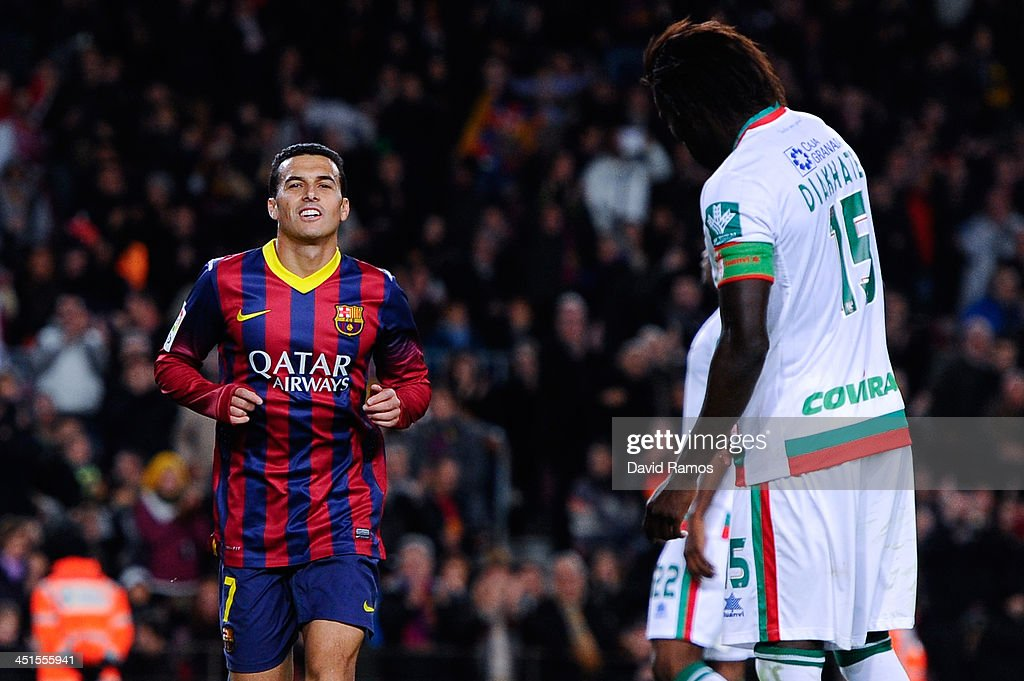 Pedro Rodriguez of FC Barcelona celebrates after scoring his team's fourth goal from during the La Liga match between FC Barcelona and Granda CF at Camp Nou on November 23, 2013 in Barcelona, Spain.