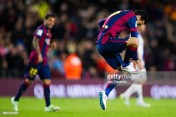 Pedro Rodriguez of FC Barcelona celebrates after scoring his team's fourth goal during the La Liga match between FC Barcelona and RCD Espanyol at...