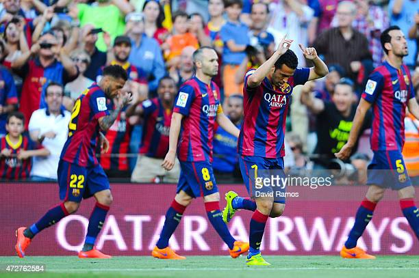 Pedro Rodriguez of FC Barcelona celebrates after scoring his team's second goal during the La Liga match between FC Barcelona and Real Sociedad de...