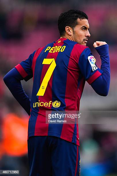 Pedro Rodriguez of FC Barcelona celebrates after scoring the opening goal during the La Liga match between FC Barcelona and Cordoba CF at Camp Nou on...