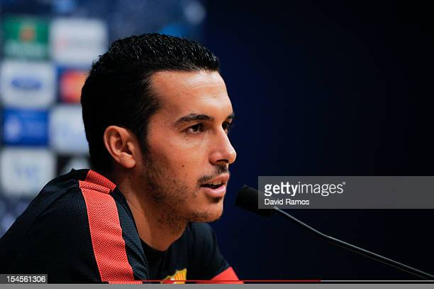 Pedro Rodriguez of FC Barcelona faces the media during a press conference ahead their UEFA Champions League Group G match between FC Barcelona and...