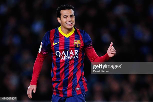 Pedro Rodriguez of FC Barcelona gives his thumbs up during the La Liga match between Real Sociedad and FC Barcelona at Estadio Anoeta on February 22...