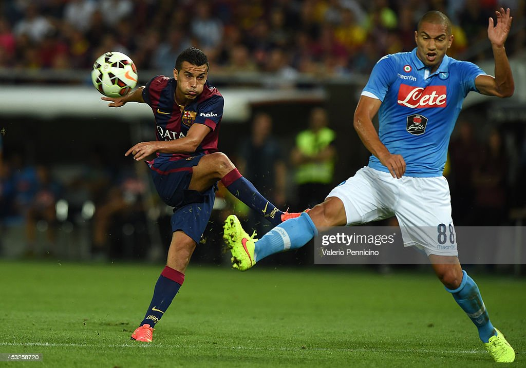 Pedro Rodriguez (L) of FC Barcelona in action against Gokhan Inler of SSC Napoli during the pre-season friendly match between FC Barcelona and SSC Napoli on August 6, 2014 in Geneva, Switzerland.