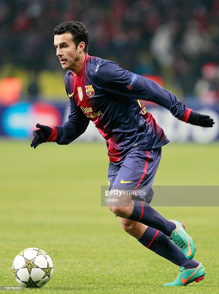 Pedro Rodriguez of FC Barcelona in action during the UEFA Champions League group G match between FC Spartak Moscow and FC Barcelona at the Luzhniki Stadium on November 20, 2012 in Moscow, Russia.