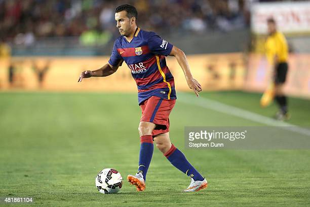 Pedro Rodriguez of FC Barcelona in actoin against the Los Angeles Galaxy in the International Champions Cup 2015 at Rose Bowl on July 21 2015 in...