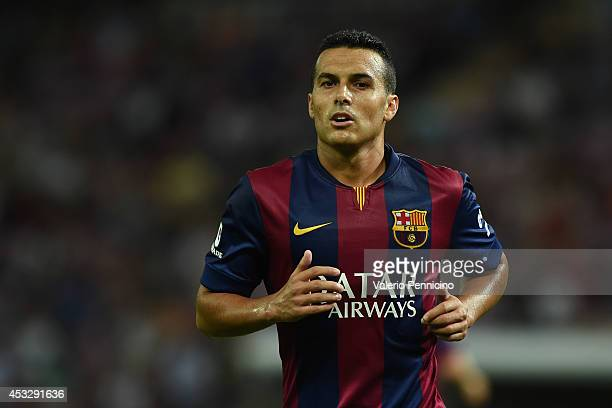 Pedro Rodriguez of FC Barcelona looks on during the preseason friendly match between FC Barcelona and SSC Napoli on August 6 2014 in Geneva...