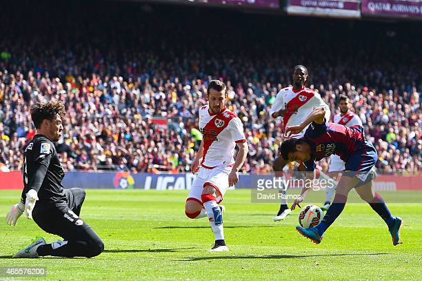Pedro Rodriguez of FC Barcelona misses a chance to score during the La Liga match between FC Barcelona and Rayo Vallecano de Madrid at Camp Nou on...