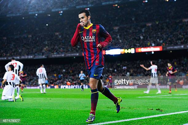 Pedro Rodriguez of FC Barcelona reacts after scoring the opening goal during the Copa del Rey round of 32 second leg match between FC Barcelona and...