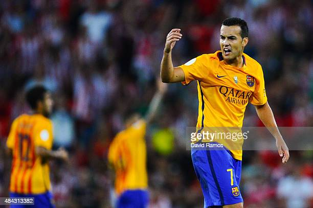 Pedro Rodriguez of FC Barcelona reacts during the Spanish Super Cup first leg match between FC Barcelona and Athletic Club at San Mames Stadium on...