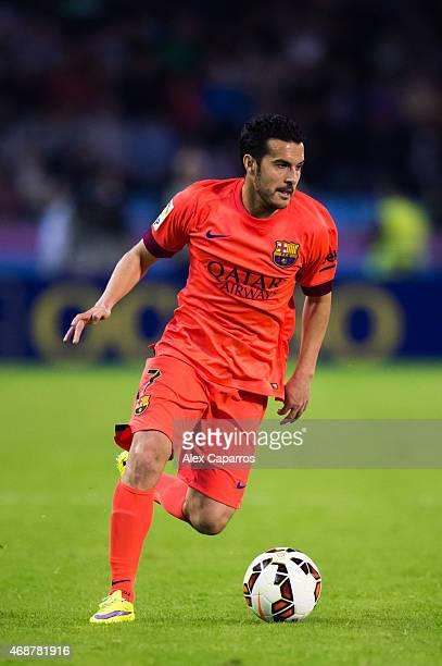 Pedro Rodriguez of FC Barcelona runs with the ball during the La Liga match between Celta Vigo and FC Barcelona at Estadio Balaidos on April 5 2015...