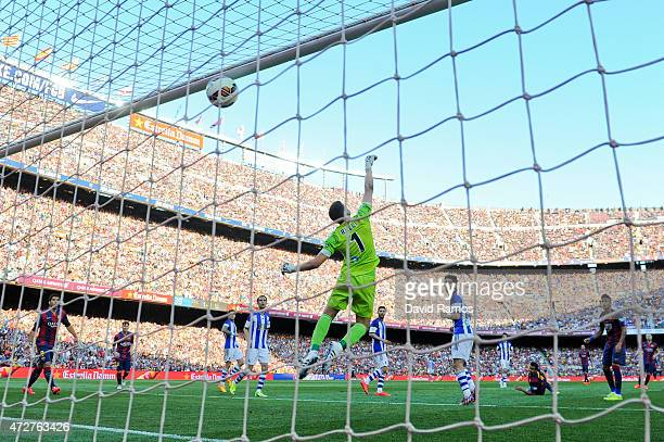 Pedro Rodriguez of FC Barcelona scores his team's second goal during the La Liga match between FC Barcelona and Real Sociedad de Futbol at Camp Nou...