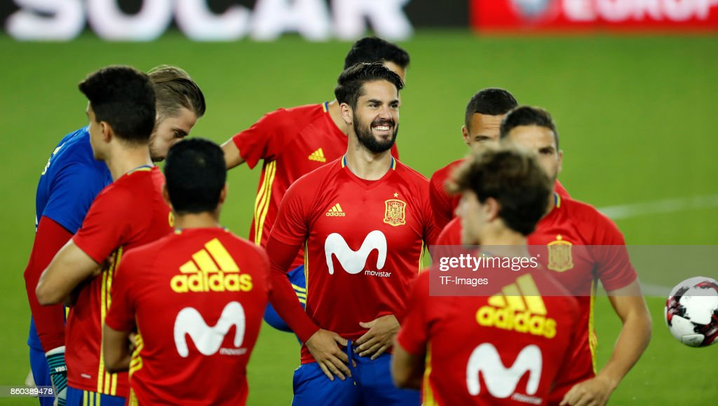 Pedro Rodriguez of Spain attends a training session on October 8, 2017 in Jerusalem, Israel.