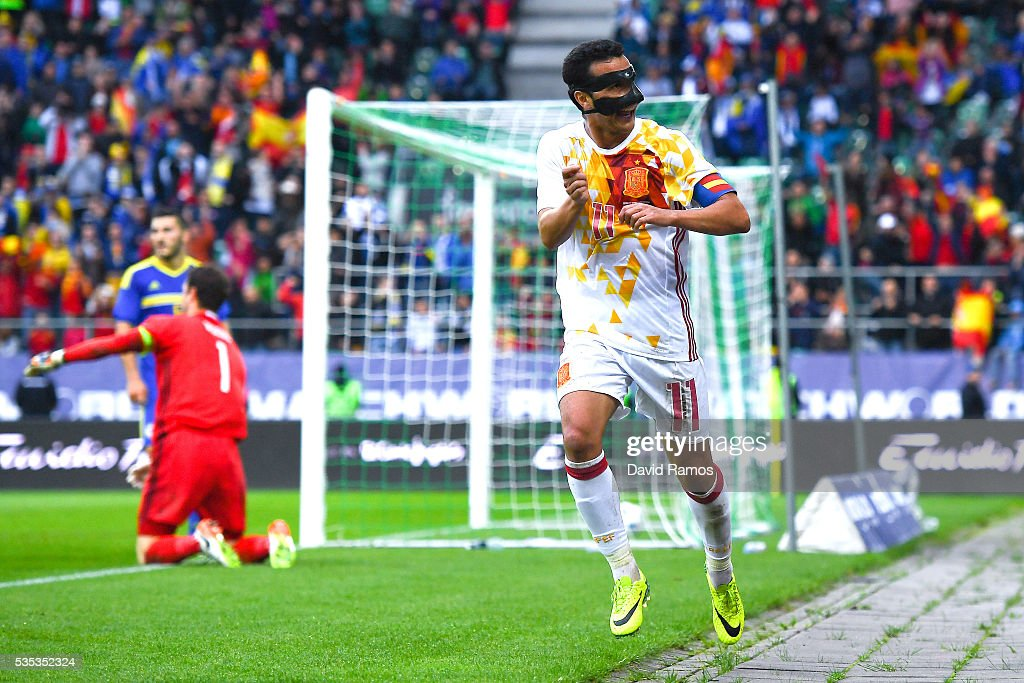 Pedro Rodriguez of Spain celebrates after scoring his team's third goal during an international friendly match between Spain and Bosnia at the AFG Arena on May 29, 2016 in St Gallen, Switzerland.