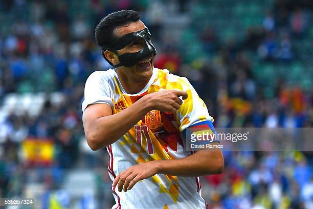 Pedro Rodriguez of Spain celebrates after scoring his team's third goal during an international friendly match between Spain and Bosnia at the AFG...