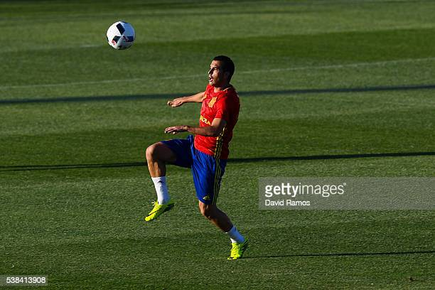 Pedro Rodriguez of Spain controls the ball during a training session at La Ciudad del Futbol de las Rozas on June 6 2016 in Madrid Spain