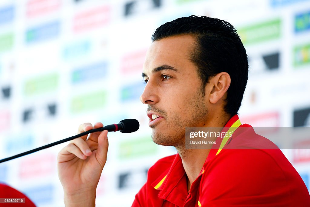 Pedro Rodriguez of Spain faces the media during a press conference before a training session on May 30, 2016 in Schruns, Austria.