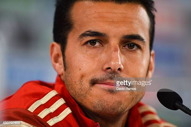 Pedro Rodriguez of Spain faces the media during a Spain press conference at Centro de Entrenamiendo do Caju on June 16 2014 in Curitiba Brazil