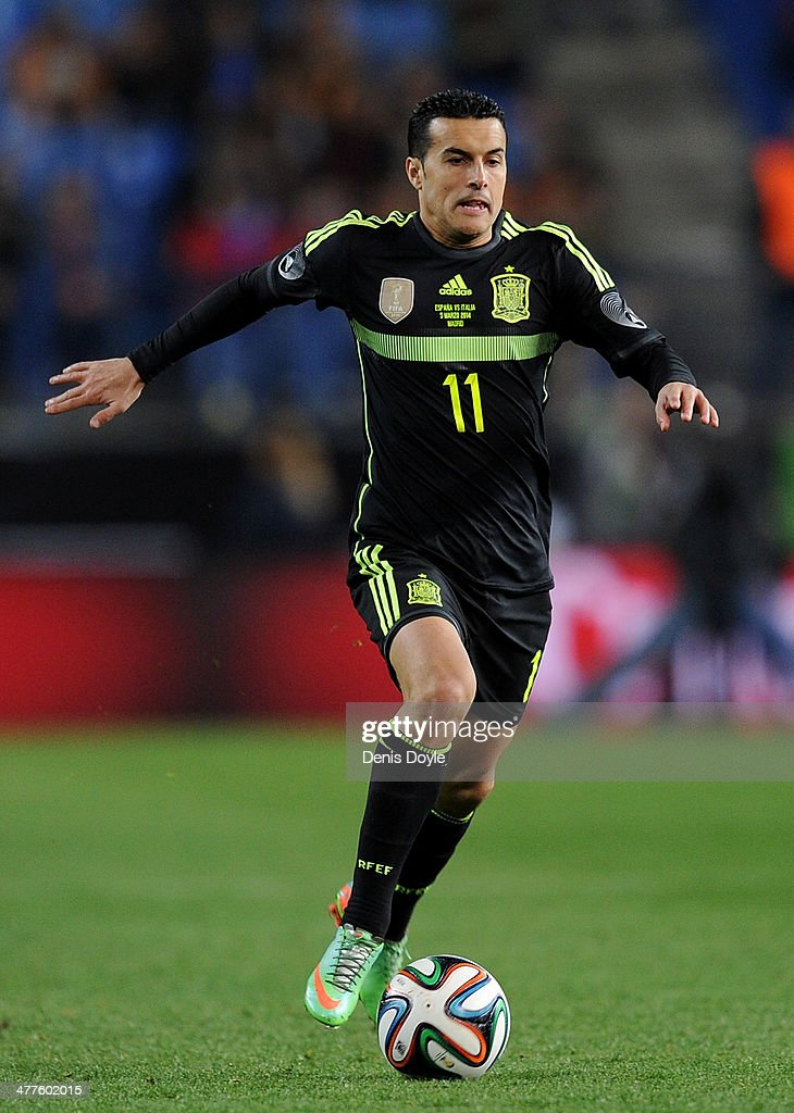 Pedro Rodriguez of Spain in action during the international friendly match between Spain and Italy at estadio Vicente Calderon on March 5, 2014 in Madrid, Spain.