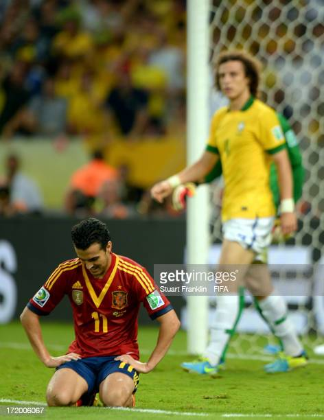 Pedro Rodriguez of Spain looks dejected during the FIFA Confederations Cup Brazil 2013 Final match between Brazil and Spain at Maracana on June 30...