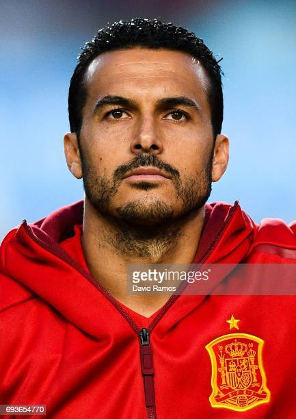 Pedro Rodriguez of Spain looks on during a friendly match between Spain and Colombia at La Nueva Condomina stadium on June 7 2017 in Murcia Spain