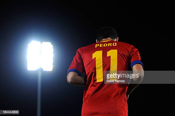Pedro Rodriguez of Spain looks on during the FIFA 2014 World Cup Qualifier match between Spain and Belarus at Iberostars Stadium on October 11 2013...