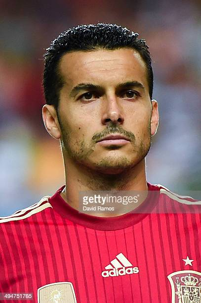 Pedro Rodriguez of Spain looks on prior to an international friendly match between Spain and Bolivia at Estadio Ramon Sanchez Pizjuan on May 30 2014...