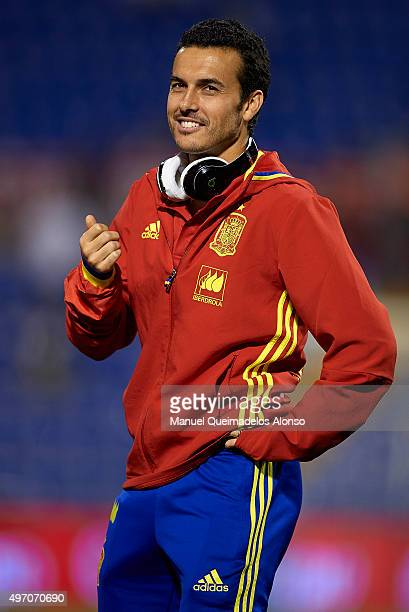 Pedro Rodriguez of Spain looks on prior to the international friendly match between Spain and England at Jose Rico Perez Stadium on November 13 2015...