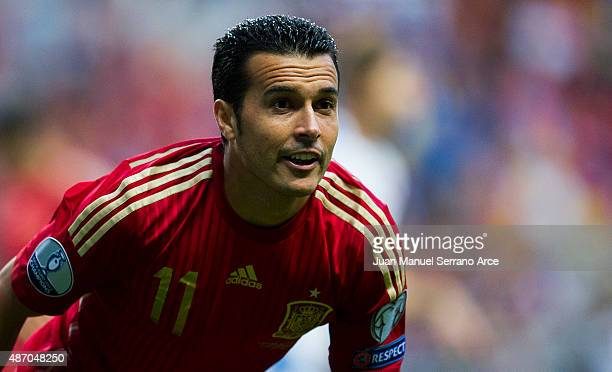 Pedro Rodriguez of Spain reacts during the Spain v Slovakia EURO 2016 Qualifier at Carlos Tartiere on Sep 5 2015 in Oviedo Spain