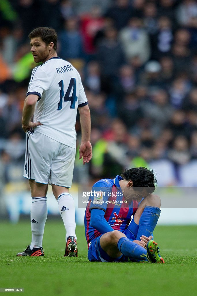 Pedro R'os of Levante UD complains during the La Liga match between Real Madrid CF and Levante UD at Santiago Bernabeu Stadium on April 6, 2013 in Madrid, Spain.