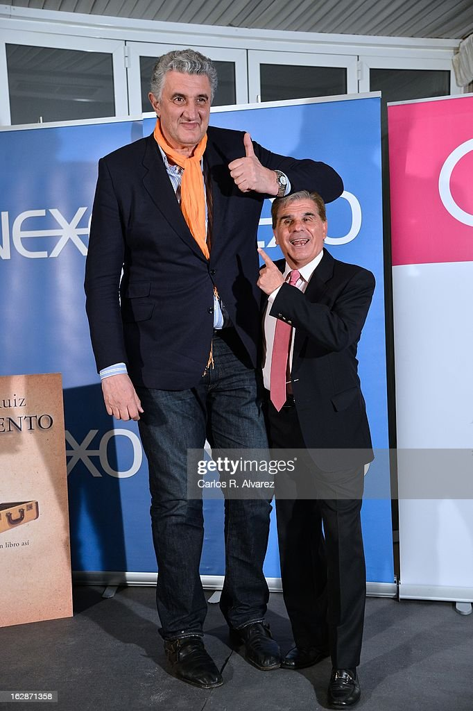 Pedro Ruiz (L) and Fernando Romay (R) attend the presentation of 'Testamento' new book by Pedro Ruiz at the Club the Tiro on February 28, 2013 in Madrid, Spain.