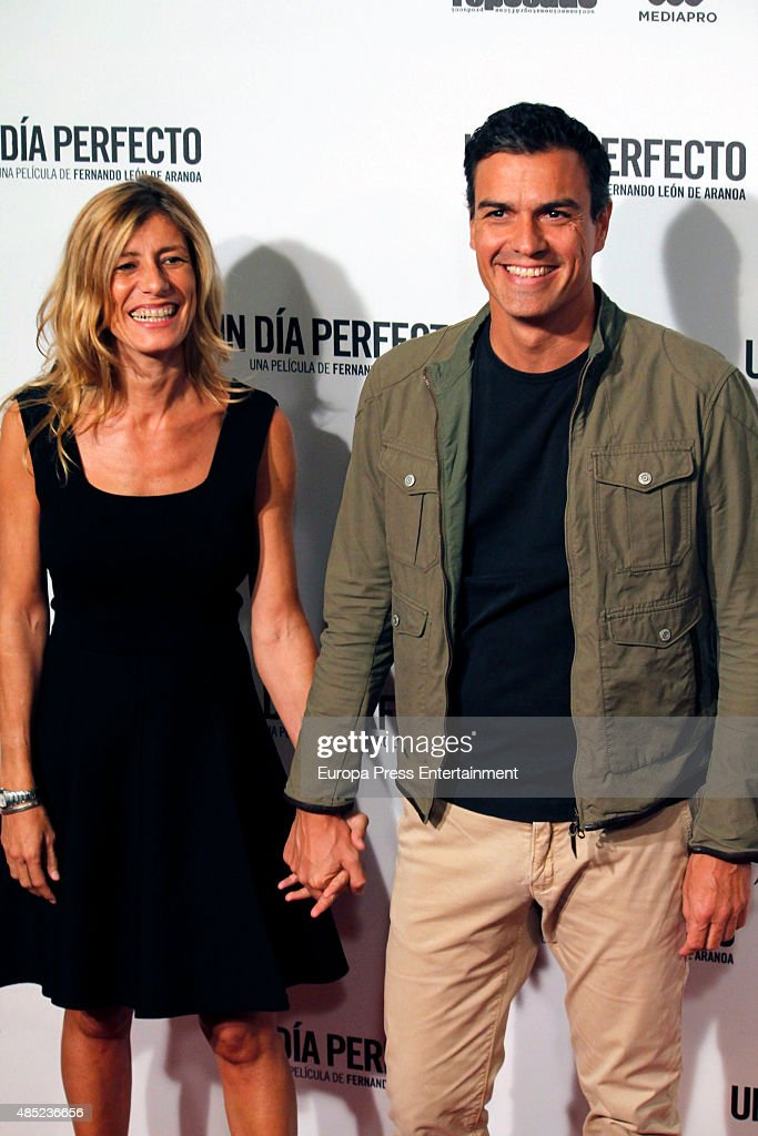 Pedro Sanchez and Begona Fernandez attend 'A perfect day' ('Un dia perfecto') premiere on August 25, 2015 in Madrid, Spain.
