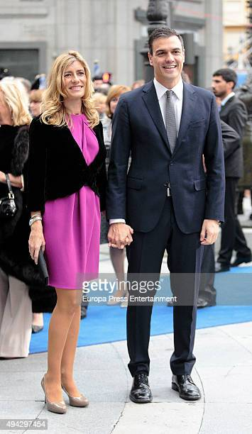 Pedro Sanchez and Begona Gomez attend Princesa de Asturias Awards 2015 on October 23 2015 in Oviedo Spain