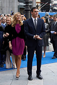 Pedro Sanchez and wife Begona Fernandez arrive to the Campoamor Theater for the Princess of Asturias Award 2015 ceremony on October 23 2015 in Oviedo...