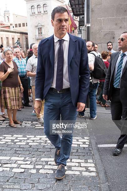 Pedro Sanchez attends the funeral chapel for Pedro Zerolo at Casa de la Villa on June 9 2015 in Madrid Spain