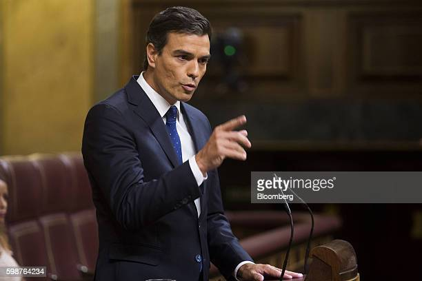 Pedro Sanchez leader of the Spanish Socialist Party PSOE speaks inside the parliament in Madrid Spain on Friday Sept 2 2016 Acting Prime Minister...