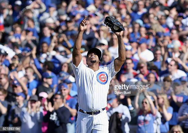 Pedro Strop of the Chicago Cubs celebrates after beating the Colorado Rockies 62 at Wrigley Field on April 16 2016 in Chicago Illinois