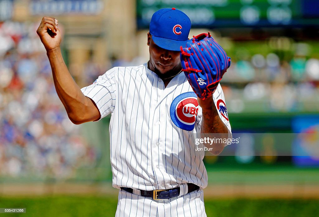 Pedro Strop #46 of the Chicago Cubs celebrates after throws to first base for the final out of the eighth inning against the Philadelphia Phillies at Wrigley Field on May 29, 2016 in Chicago, Illinois.