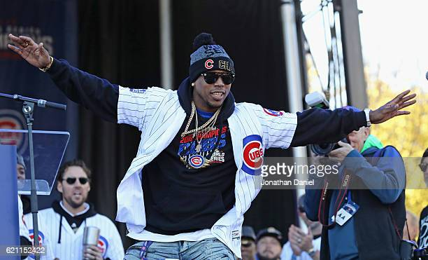 Pedro Strop of the Chicago Cubs is introduced to the crowd during the Chicago Cubs victory celebration in Grant Park on November 4 2016 in Chicago...
