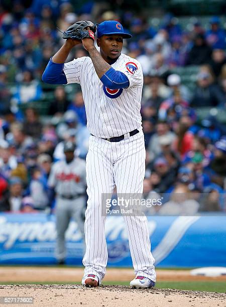 Pedro Strop of the Chicago Cubs pitches against the Atlanta Braves at Wrigley Field on April 29 2016 in Chicago Illinois