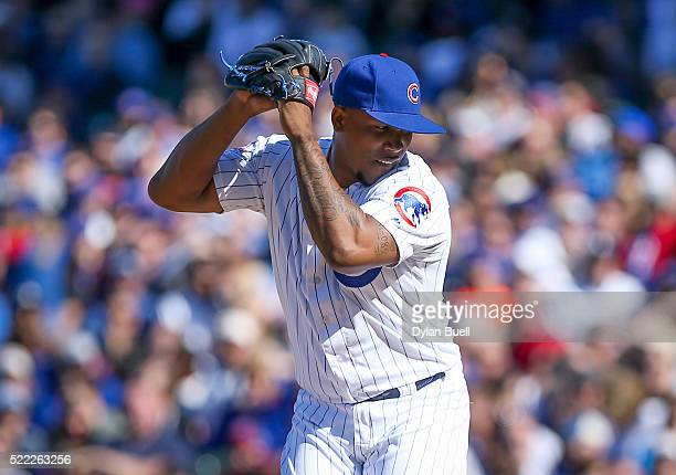 Pedro Strop of the Chicago Cubs pitches against the Colorado Rockies at Wrigley Field on April 16 2016 in Chicago Illinois