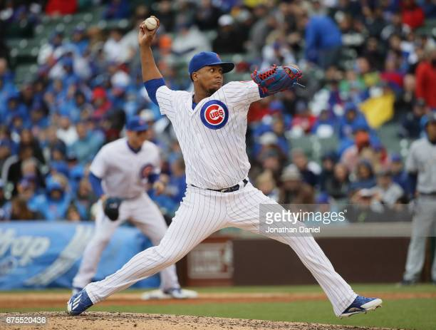 Pedro Strop of the Chicago Cubs pitches against the Milwaukee Brewers at Wrigley Field on April 19 2017 in Chicago Illinois The Cubs defeated the...