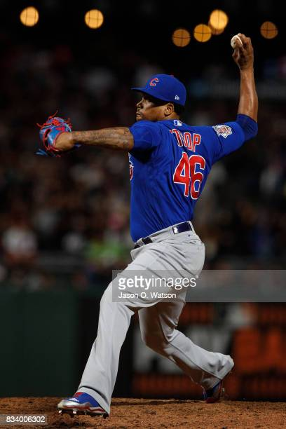 Pedro Strop of the Chicago Cubs pitches against the San Francisco Giants during the seventh inning at ATT Park on August 7 2017 in San Francisco...