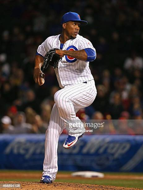 Pedro Strop of the Chicago Cubs pitches against the St Louis Cardinals during the Opening Night game at Wrigley Field on April 5 2015 in Chicago...