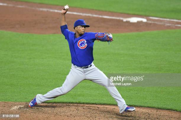Pedro Strop of the Chicago Cubs pitches during a baseball game against the Baltimore Orioles at Oriole Park at Camdens Yards on July 14 2017 in...