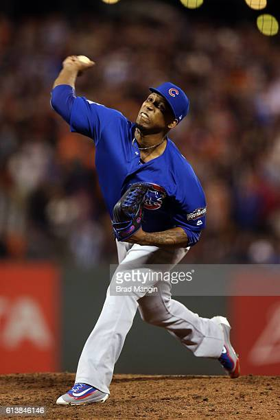 Pedro Strop of the Chicago Cubs pitches during Game 3 of NLDS against t the San Francisco Giants at ATT Park on Monday October 10 2016 in San...