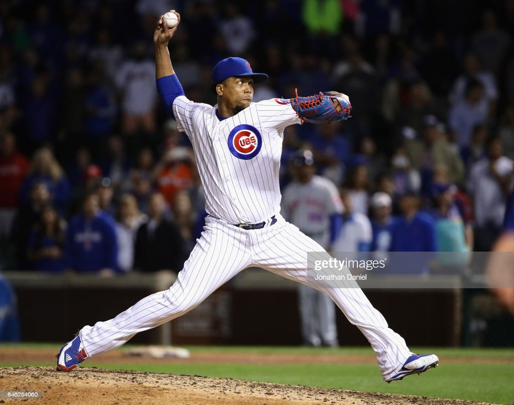 Pedro Strop #46 of the Chicago Cubs pitches in the 9th inning against the New York Mets at Wrigley Field on September 12, 2017 in Chicago, Illinois. The Cubs defeated the Mets 8-3.