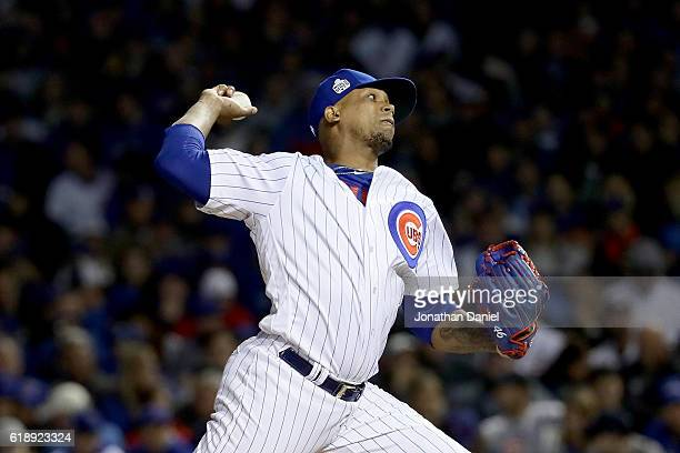 Pedro Strop of the Chicago Cubs pitches in the eighth inning against the Cleveland Indians in Game Three of the 2016 World Series at Wrigley Field on...