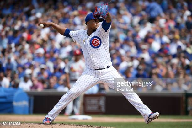 Pedro Strop of the Chicago Cubs pitches in the seventh inning against the St Louis Cardinals at Wrigley Field on July 21 2017 in Chicago Illinois